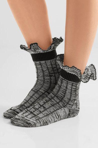 Alexander McQueen - Ruffled Wool-blend Socks - Black -