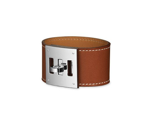 "Hermes leather bracelet  Natural barenia calfskin Palladium plated hardware, 6.25"" long, 2"" diameter"