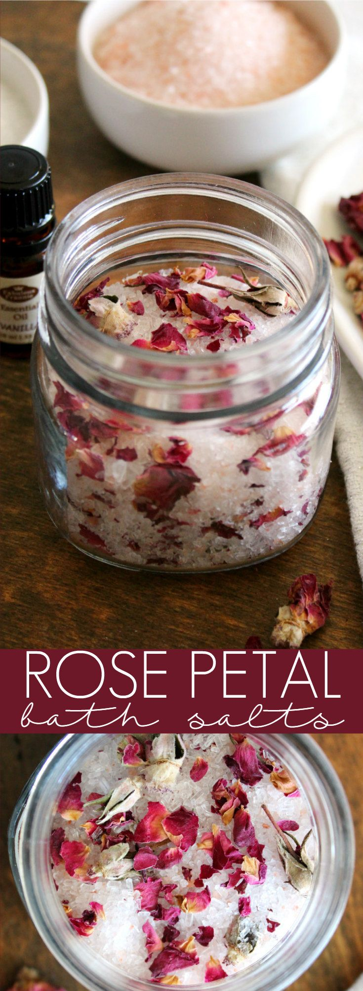 This Valentine's Day, show yourself a little extra love with DIY Rose Petal Bath Salts that are made with Epsom salt, pink Himalayan sea salt, dried rose petals, and scented with soothing vanilla essential oil.