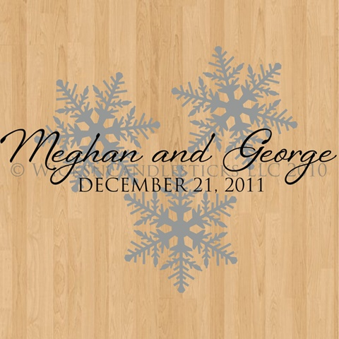 Our wedding dance floor decal is perfect for a snowflaked or winter wedding theme and is the perfect solution for your wedding day. Our wedding dance floor decals are removable vinyl decals for your dance floor. $38.00