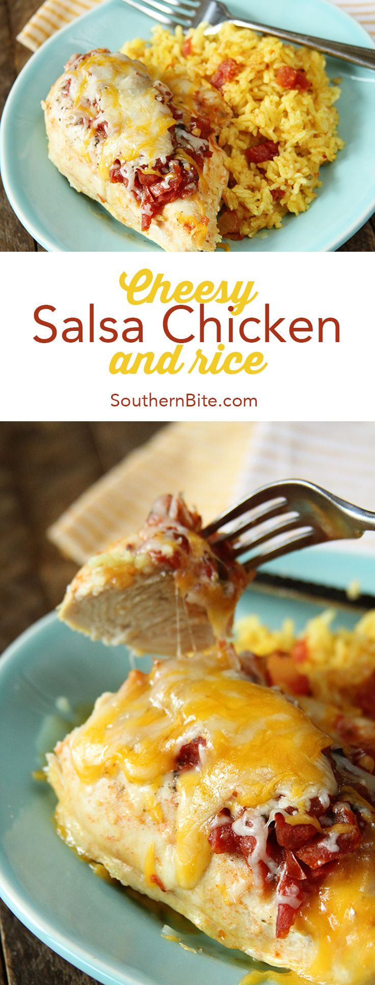 This Cheesy Salsa Chicken and Rice is the perfect one-dish meal. Prep and clean-up are a cinch and the flavors are amazing!