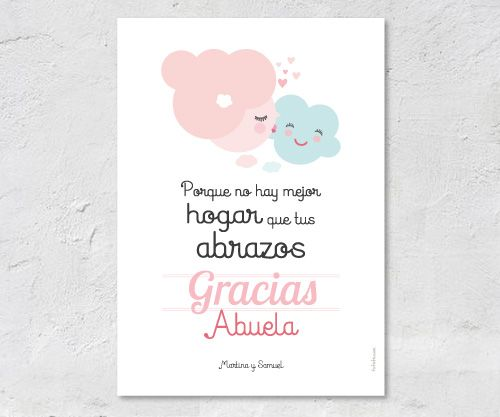 Lámina Personalizada Abuela nube rosa