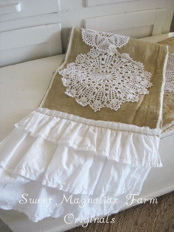 WWII Linen Burlap Runner.. Lace Embellished Top with triple white cotton Ruffles ..   Sold to a Good Home