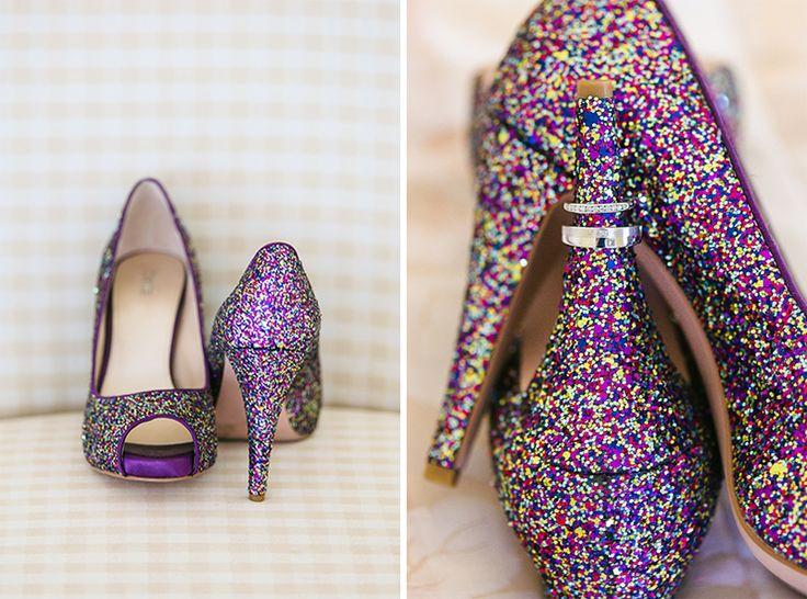 Bride's Purple Wedding Shoes with rings | Coolibah Downs Wedding | Eliza Davis - Gold Coast Wedding Photographer |