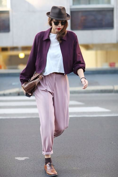 Love this. Feminine colors and androgynous style.