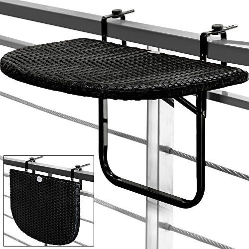 Balcony Hanging Table Space Saving Folding Height-Adjustable Black Patio Deck Railing Poly Rattan Garden Furniture---28.95---