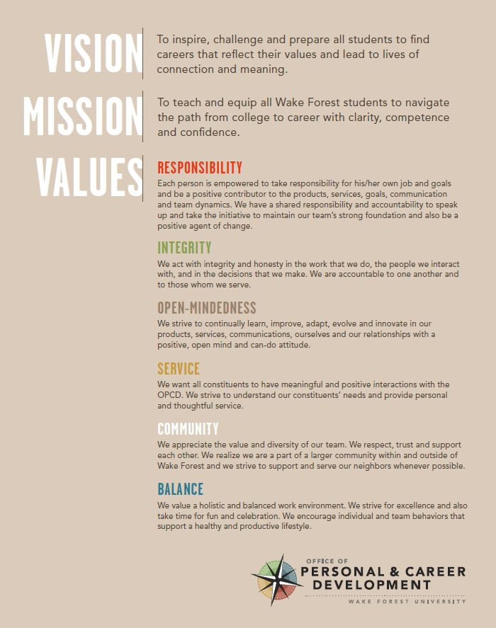 Vision, Mission & Values - like this layout and clarity                                                                                                                                                                                 More