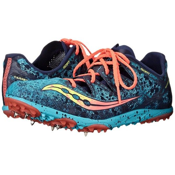 Saucony Carrera XC (Spike) (Blue/Vizi Coral) Women's Running Shoes ($78) ❤ liked on Polyvore featuring shoes, athletic shoes, breathable running shoes, coral shoes, cross country shoes, blue athletic shoes and cross country spike shoes