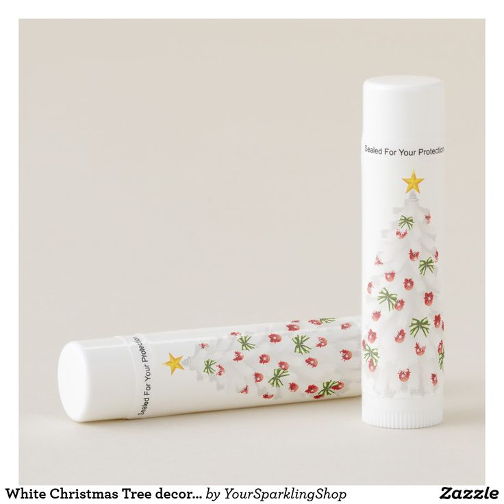#Lipbalm White Christmas Tree decorated with Red and Green #christmas #giftideas #beauty