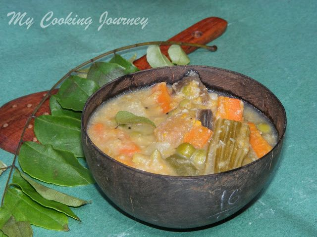 Aviyal /Traditional South Indian mixed vegetable stew in coconut based ...