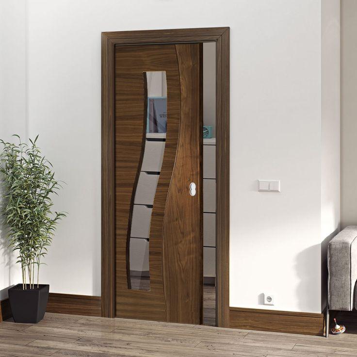 Deanta Single Pocket Contemporary Design Cadiz Walnut Prefinished Door with Clear safety Glass & 290 best Deanta sustainable doors images on Pinterest | Oak doors ... pezcame.com