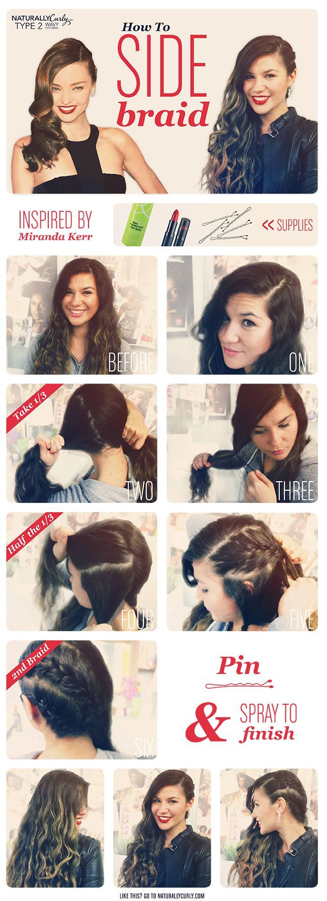 Miranda Kerr Wavy Side Braid Tutorial - #Braid #Kerr #Miranda #Side #tutorial #Wav