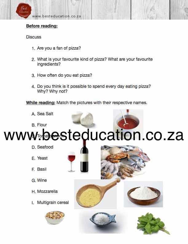 Seafood yeast basil wine mozzarella - Grade 4 English www.besteducation.co.za