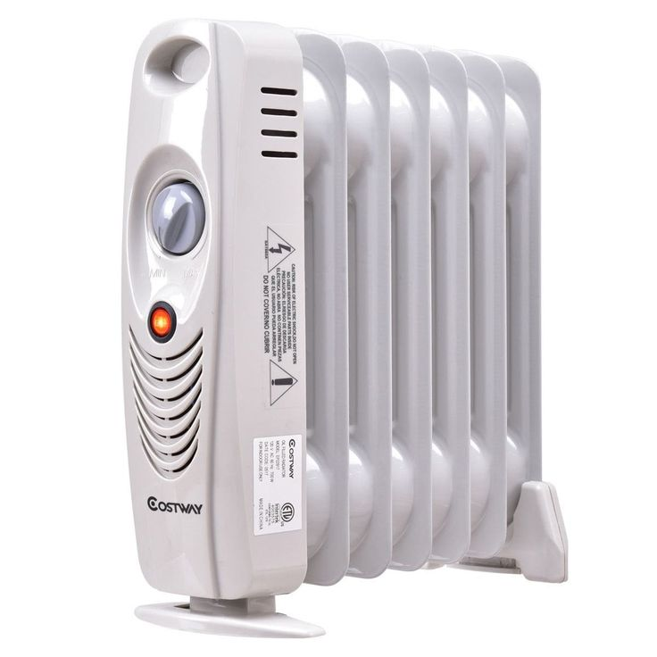 Costway 700W Portable Mini Electric Oil Filled Radiator Heater Safe Room ComforTemp, White