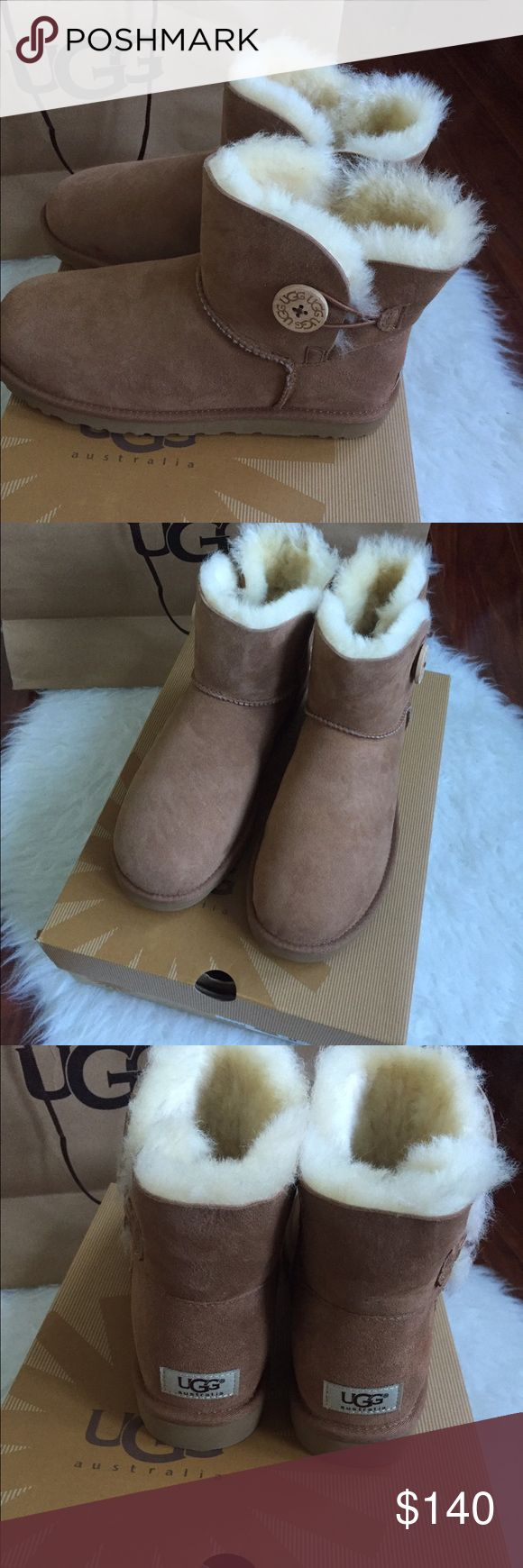 UGG NEW BAILEY BUTTON WOMEN🐨🐨🐨 New with tag and box bought at UGG store receipt available.100% authentic.These beauties are fully wool lined will keep your feet warm and comfortable for many winters to come .Don't miss out🐨🐨 UGG Shoes Ankle Boots & Booties