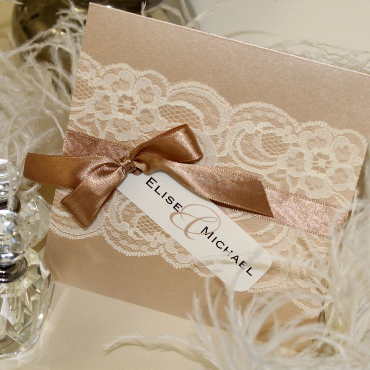 lace wedding invitation wrap%0A Wedding invitation in nude latte tones with a simple white lace