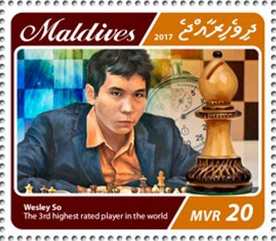 Stamp: Wesley So, the 3rd highest rated player in the world (Maldives) (Chess players) Mi:MV 6944