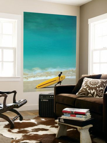 Boy with Yellow Surfboard at Waikiki Beach Laminated Oversized Art