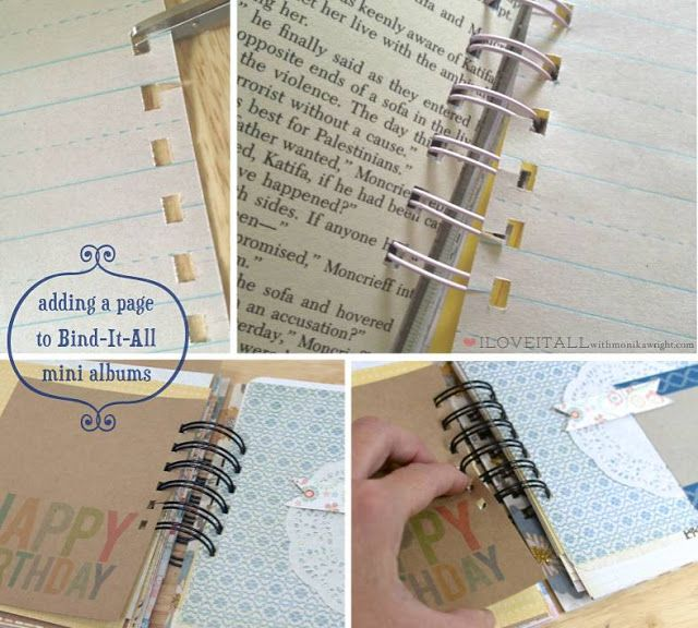 adding pages to your bind-it-all mini albums