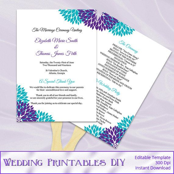 Purple Teal Wedding Program Fan Template, Diy Floral Ceremony Paddle Fans,  Printable Programs, Editable Text, Instant Download Word Pdf P64