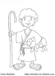 """David the Shepherd Boy"" Coloring Page"