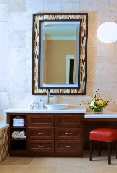 bathroom tile around mirror design pictures remodel decor and ideas - Bathroom Remodel Elk Grove Ca