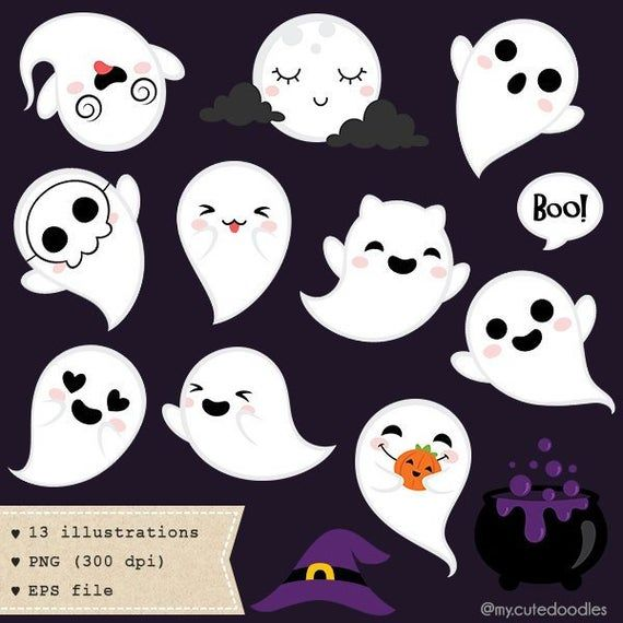 Spooky Frends Clipart Halloween Clip Art Wolf Halloween Vector Cute Ghost Little Pumpking Baby Shower Spooky Cute Emoji C035 Halloween Clipart Halloween Clips Halloween Vector
