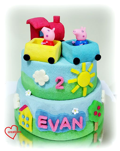 Loving Creations for You: Peppa Pig Train 2-Tier Chiffon Cake