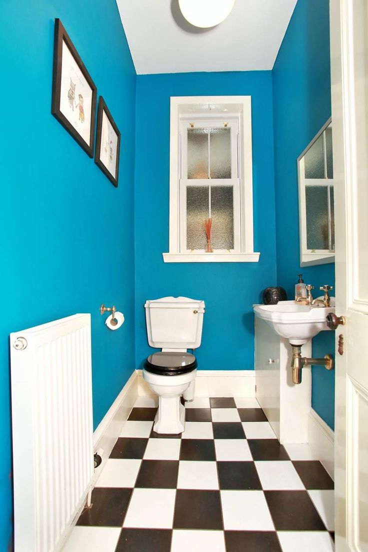 Blue bathroom designs - Bright Blue Bathroom Toilet Aberdeen Scotland House For Sale Checkered Flooring Traditional Toilet