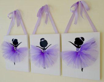 Tutu doeken. Ballerina kunst aan de muur. Paars, lavendel en witte kwekerij.  Kwekerij wand decor.