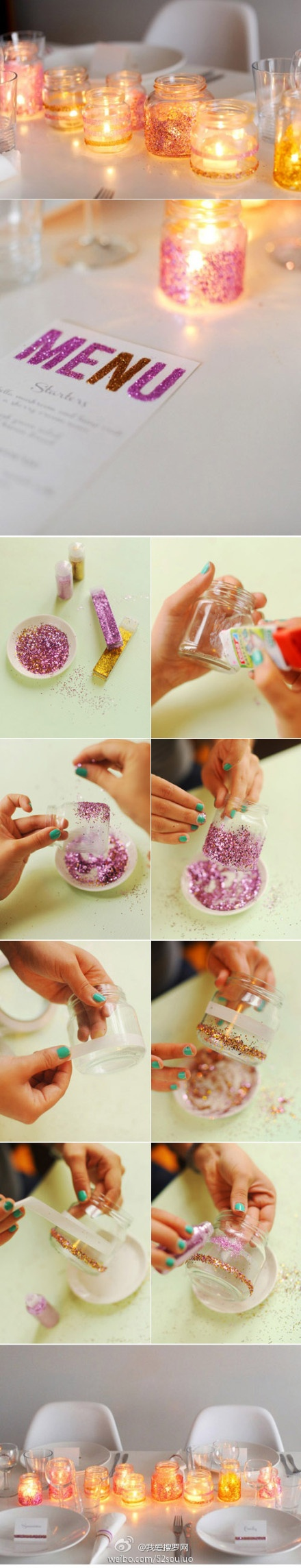 DIY :: Glitter Candle Holder ( http://theglitterguide.com/2011/09/19/diy-sparkly-tablescape/ )