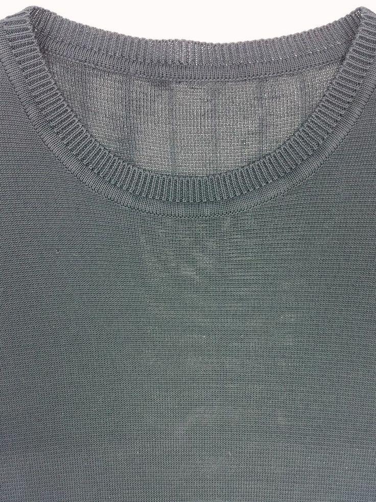 Black Slinky Knit Semi-Sheer Mens Rayon Short Sleeve Shirt Sweater Deep Black #Unbranded #CasualDress