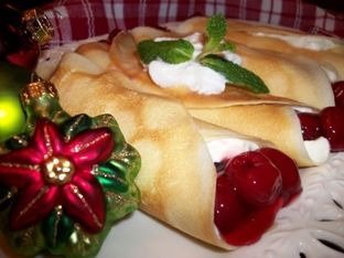 Easy Christmas Desserts - Quick Cherry Cream Cheese Crepes