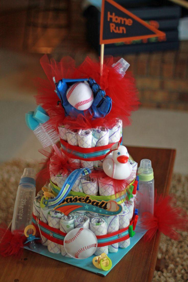 Baseball themed diaper cake