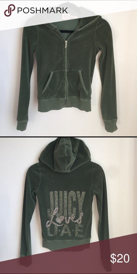 Juicy Couture Petite Track Jacket in Olive Green Juicy Couture velour jacket featuring a bling backside to show your sass and femininity. This comfy zip-up hoodie in olive is in perfect condition, machine washable, and comfy yet stylish! Juicy Couture Tops Sweatshirts & Hoodies
