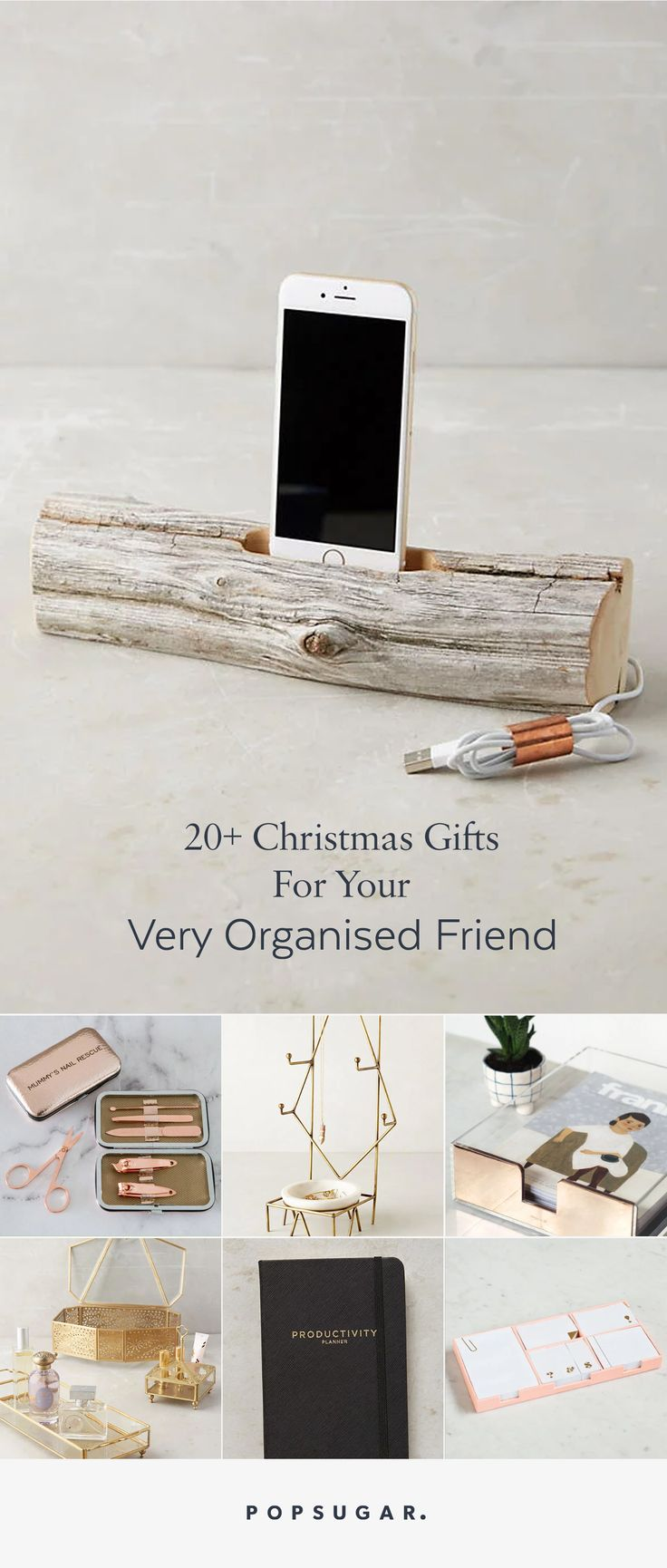 Popsugar christmas gift and present guide for organisation of work and person space.