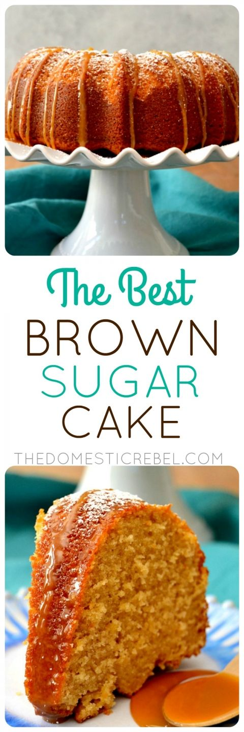 This Brown Sugar Cake with Caramel Sauce is the BEST pound cake! Buttery, brown sugary with vanilla and caramel, it's moist, fluffy, tender and so easy!