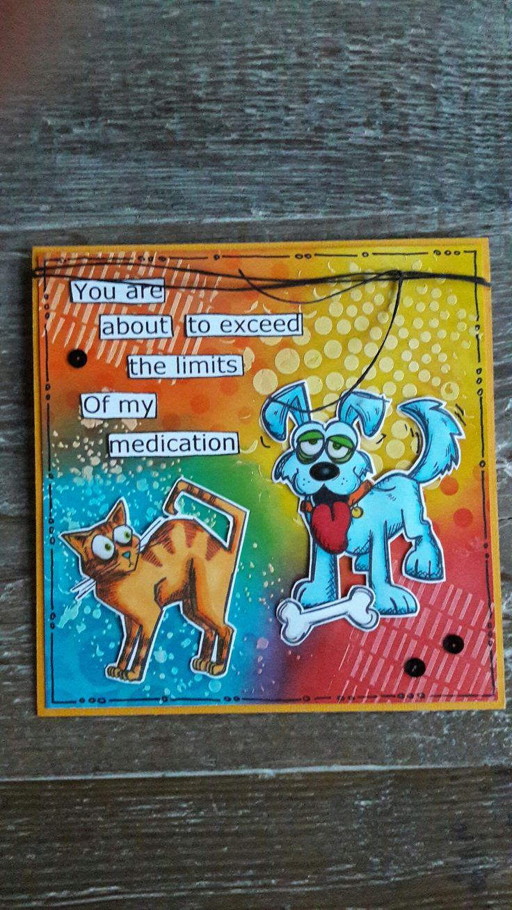 Kaartje met Distress achtergrond en Gesso, Crazy Cat & Dogs stempels van Tim Holtz, naar een idee van Pinterest,  gemaakt door Diana.