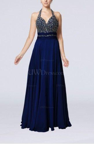 Electric Blue Glamorous Halter Sleeveless Backless Sweep Train Wedding Guest Dresses - UWDress.com