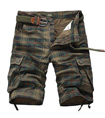 Tanming Men's Summer Loose Fit Multi Pockets Plaid Cargo Shorts Walk Shorts  Review