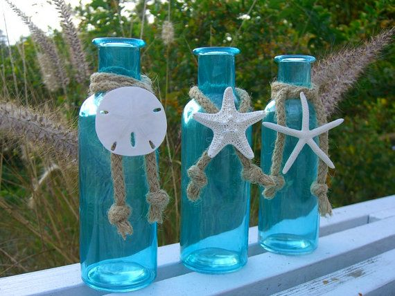 Coastal Cottage Tiffany Blue Glass Bottles-SEA LIFE TRIO-Mother's Day, Beach Home Decor, Seashore, Beach Weddings, Starfish Sand Dollar Home...