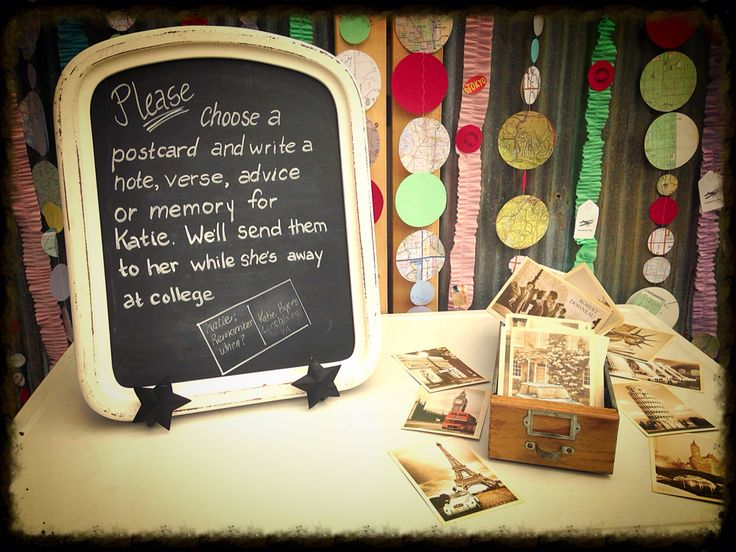 Vintage travel postcards are left for guests to sign for a Travel Theme Graduation Party. They'll be sent to the graduate from time to time while she's in college. This idea is great for Travel Theme Weddings, too. Any unsigned Postcards can be used for Thank You Notes.