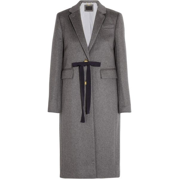 J.Crew Collection Olivia wool and cashmere-blend coat (16 365 UAH) ❤ liked on Polyvore featuring outerwear, coats, grey, j crew coats, woolen coat, embroidered coat, wool cashmere blend coat and j.crew coats