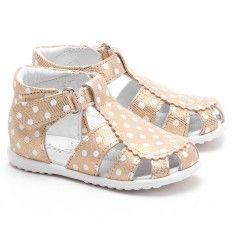 Roczki - Złote Skórzane Sandały Dziecięce - E 2355