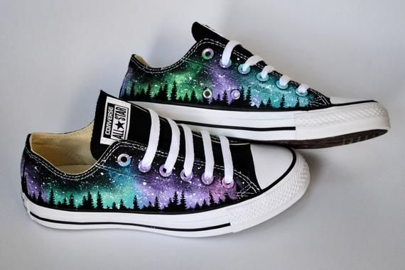 Hand Painted Shoes Northern Lights