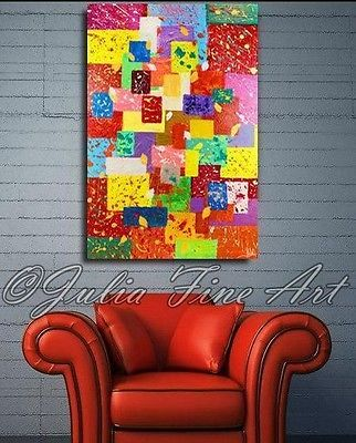 Large ORIGINAL Ready to hang Abstract Painting Rectangles Squares Rich Texture