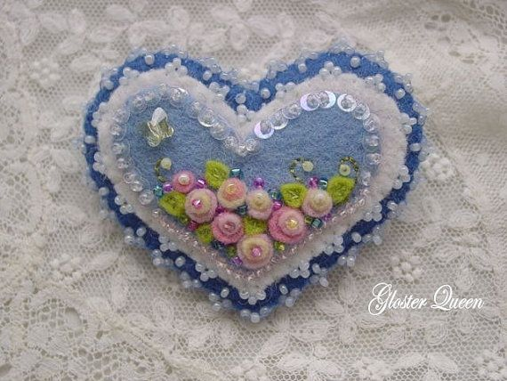 Flower heart felt pin / brooch by GlosterQueen on Etsy, $28.00
