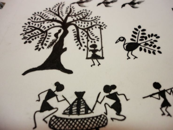 The Warli painting style is close to pre-historic cave paintings. Description from sketchiistudio.wordpress.com. I searched for this on bing.com/images