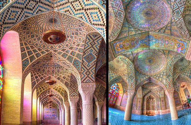 Spectacular images of a mosque in Iran have been flying around the internet of stunning Islamic architecture washed in rainbow-bright hues. The forms are
