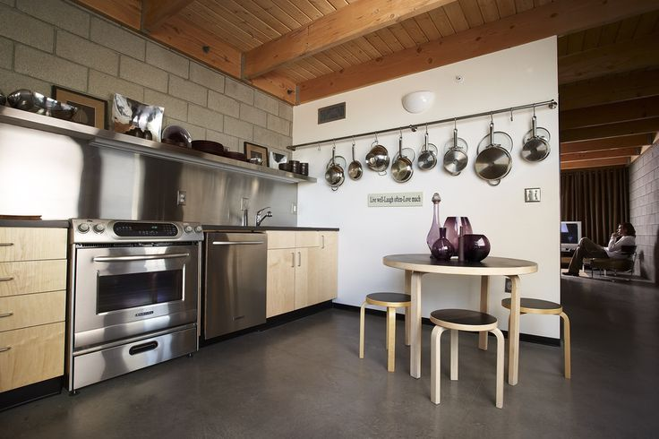 Farberware Pots Kitchen Eclectic with Cinder Block Wall Eat in Kitchen Exposed Beams Hanging Pot Rack Kitchen